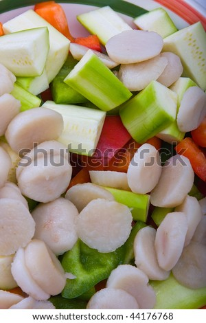 Sliced Bell Peppers, Zucchini, and Water Chestnut - stock photo