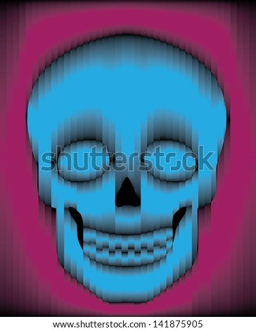 Sliced blue and purple gradient glass skull - stock photo