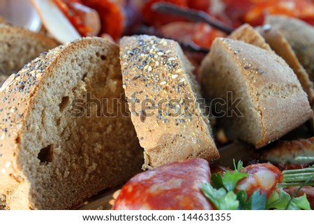 sliced bread and sprinkled with spices