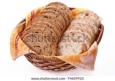 Sliced bread in a bread basket