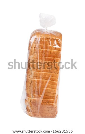 Sliced bread in plastic bag isolated on white. - stock photo
