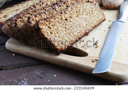 sliced bread of sprouted grain and seed  - stock photo