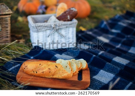 Sliced bread on a picnic - stock photo