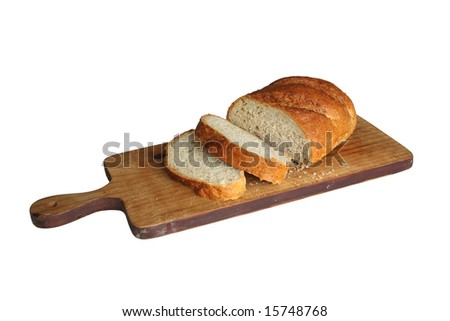 Sliced bread over cutting table - stock photo