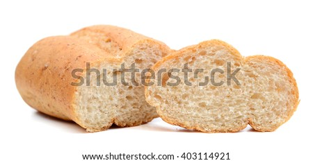 sliced bread roll isolated on white  - stock photo