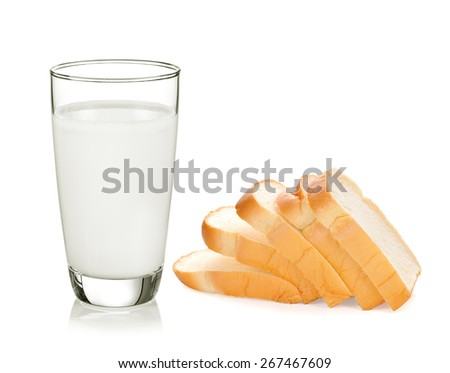 sliced bread with glass of milk isolated on white background - stock photo