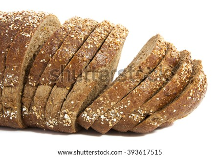 Sliced brown bread isolated on a white background - stock photo