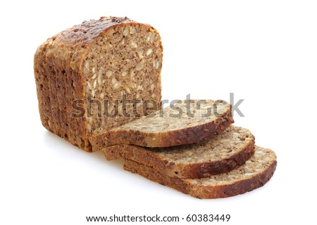 Sliced brown bread with whole grain, isolated on the white background. - stock photo