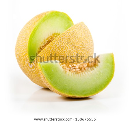 Sliced Cantaloupe Isolated on White Background - stock photo