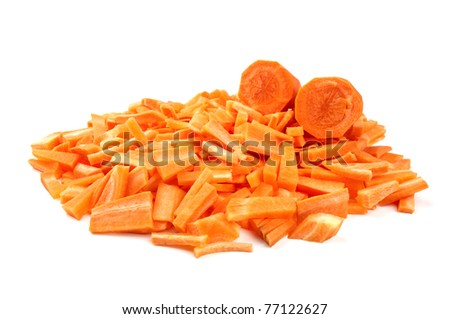 sliced carrots isolated on a white background - stock photo