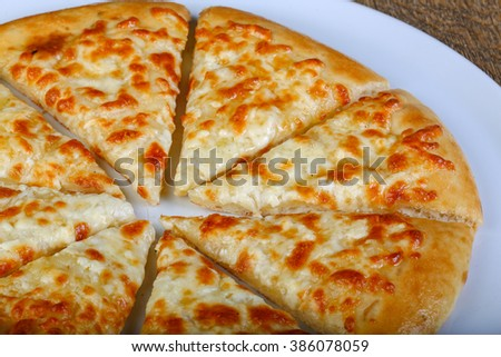 Sliced Cheese bread in the white plate - stock photo