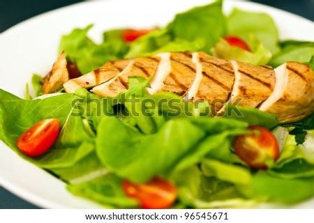 Sliced chicken breast as salad ingredient on top of the salad
