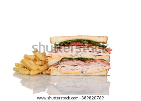 sliced chicken club sandwich with french fries - stock photo