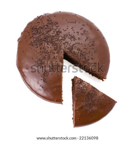 Sliced chocolate fudge cake isolated on white background