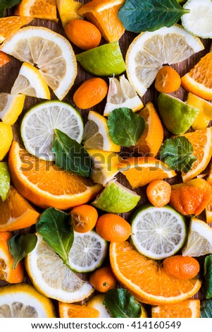Sliced citrus fruit, top view, flat lay - stock photo