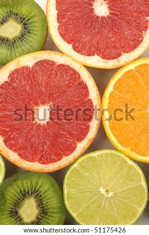 Sliced citruses background