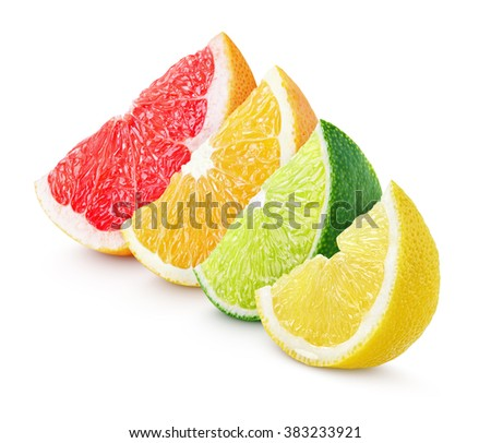 Sliced colorful citrus fruit - lime, lemon, orange and grapefruit isolated on white - stock photo