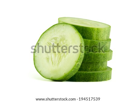 Sliced Cucumber in Stack isolated on white - stock photo
