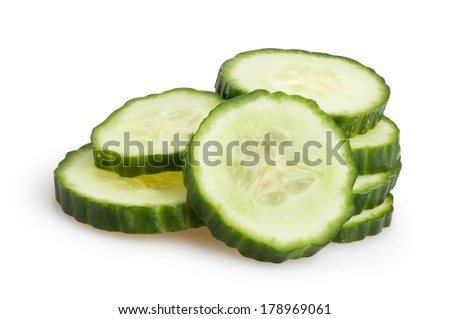 sliced cucumber isolated - stock photo