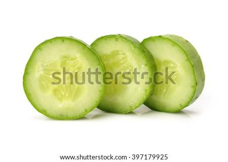 Sliced Cucumber  isolated on white - stock photo