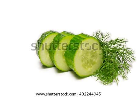 sliced cucumber, isolated on white - stock photo