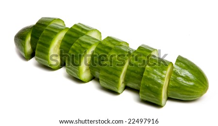 sliced cucumber on isolated on white