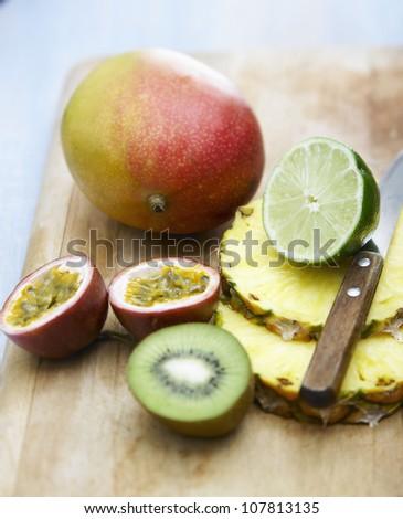 Sliced exotic fruit - stock photo