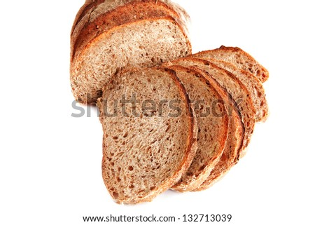 sliced french bread isolated on white background