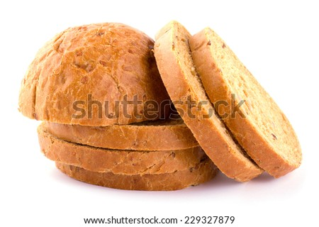 Sliced fresh bread isolated on white background cutout - stock photo
