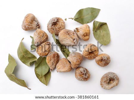 sliced fresh figs on white background - stock photo