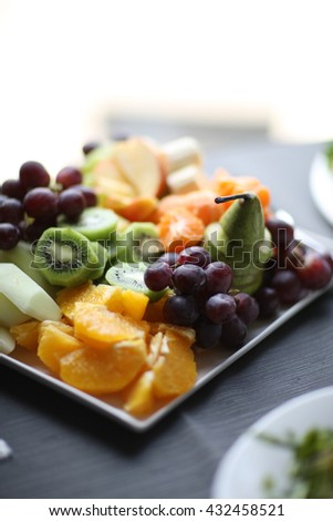 Sliced fresh fruits on a table