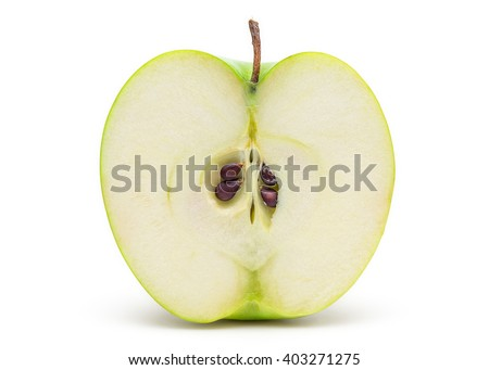 Sliced Fresh Green Apple Isolated on White Background in Full Depth of Field with Clipping Path.