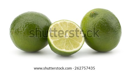 Sliced Fresh lime fruit isolated on white background - stock photo