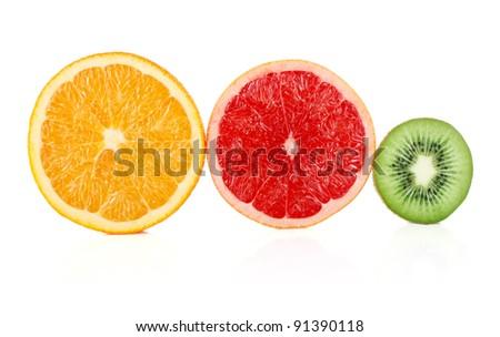 sliced fruit isolated on white background - stock photo