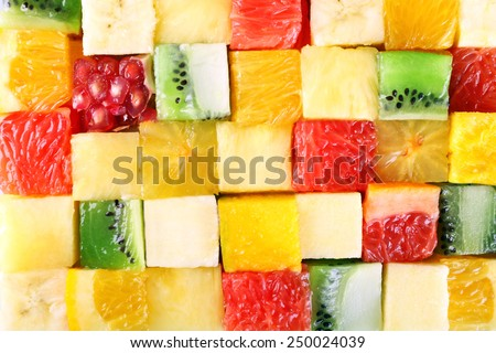 Sliced fruits background - stock photo
