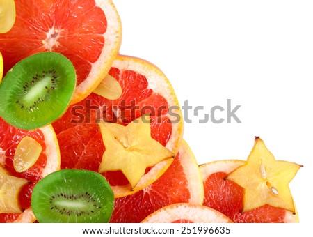 Sliced fruits close-up - stock photo