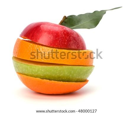 sliced fruits isolated on white background - stock photo