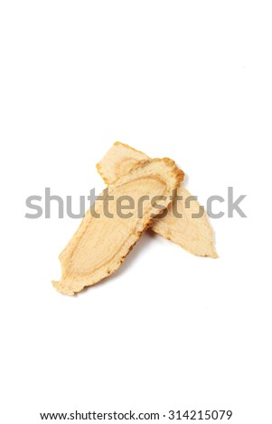 Sliced ginseng  on white background