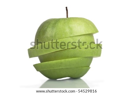 Sliced Granny Smith Apple with clipping path - stock photo