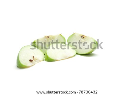 Sliced green apple isolated on white - stock photo