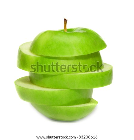 Sliced green apple isolated on white background - stock photo