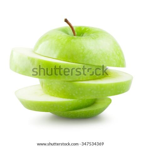 Sliced green apple over white background - stock photo