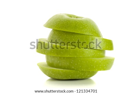 Sliced green apple, studio isolated on white background
