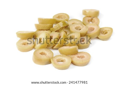 sliced green olives  isolated on the white background  - stock photo