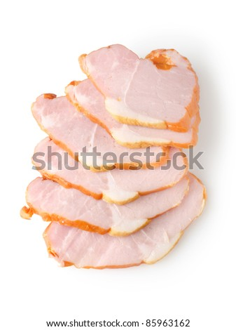 Sliced ham isolated on a white background - stock photo