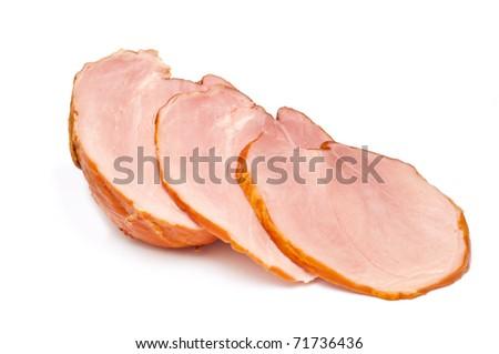 Sliced ham isolated on white background - stock photo