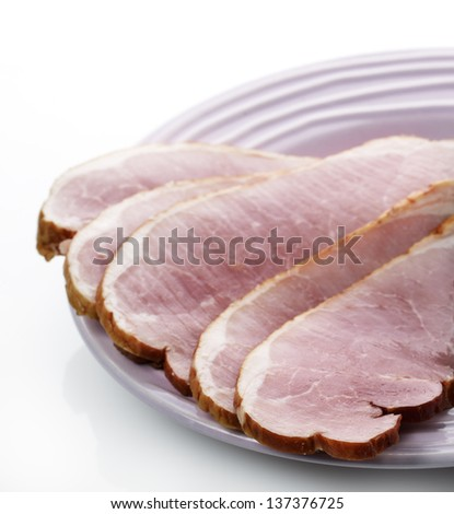 Sliced Ham On A Plate,Close Up