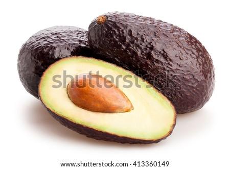 sliced hass avocado isolated - stock photo