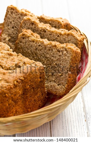 sliced homemade whole wheat bread - stock photo