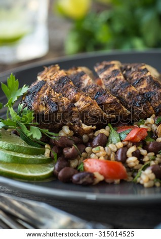 Sliced jerk chicken with black bean and rice salad - stock photo